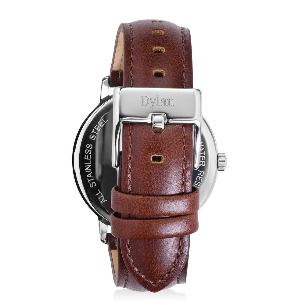 Montre Hampton minimaliste avec bracelet en cuir marron - Cadran Blanc - 2