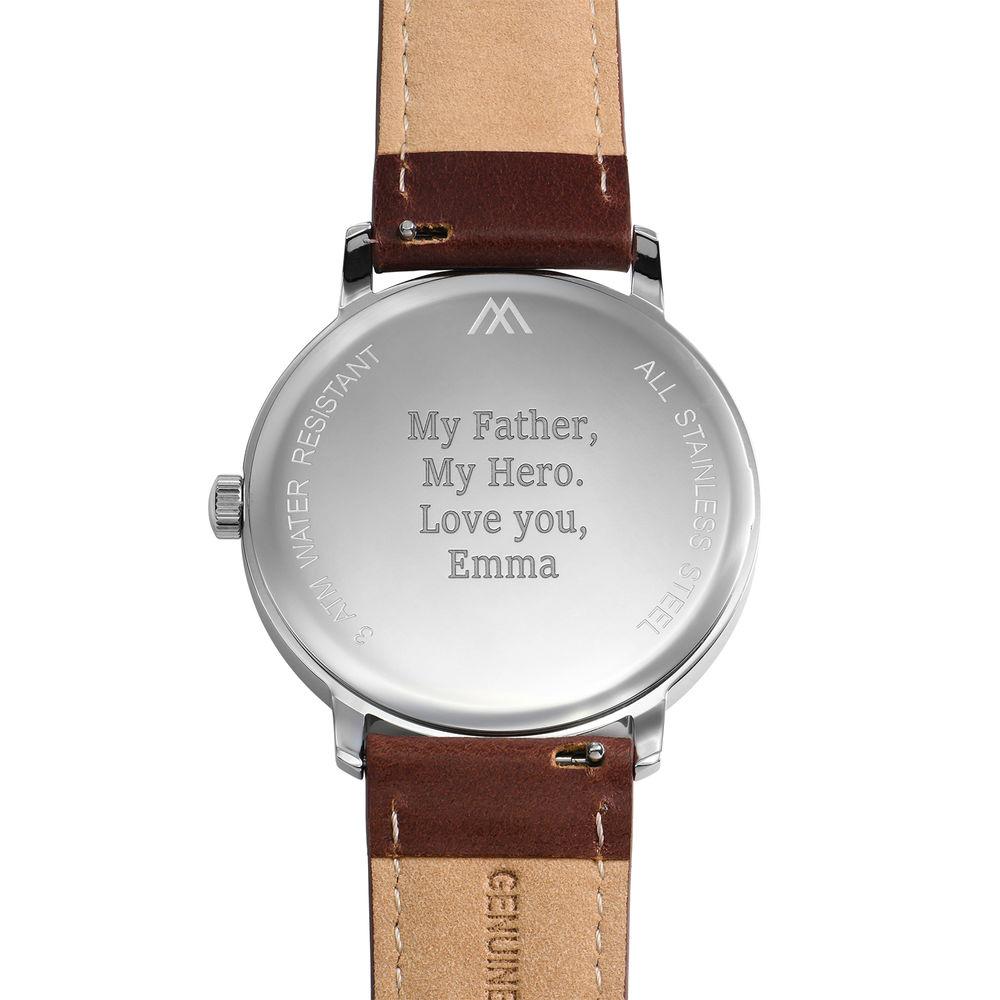 Montre Hampton minimaliste avec bracelet en cuir marron - Cadran Blanc - 3