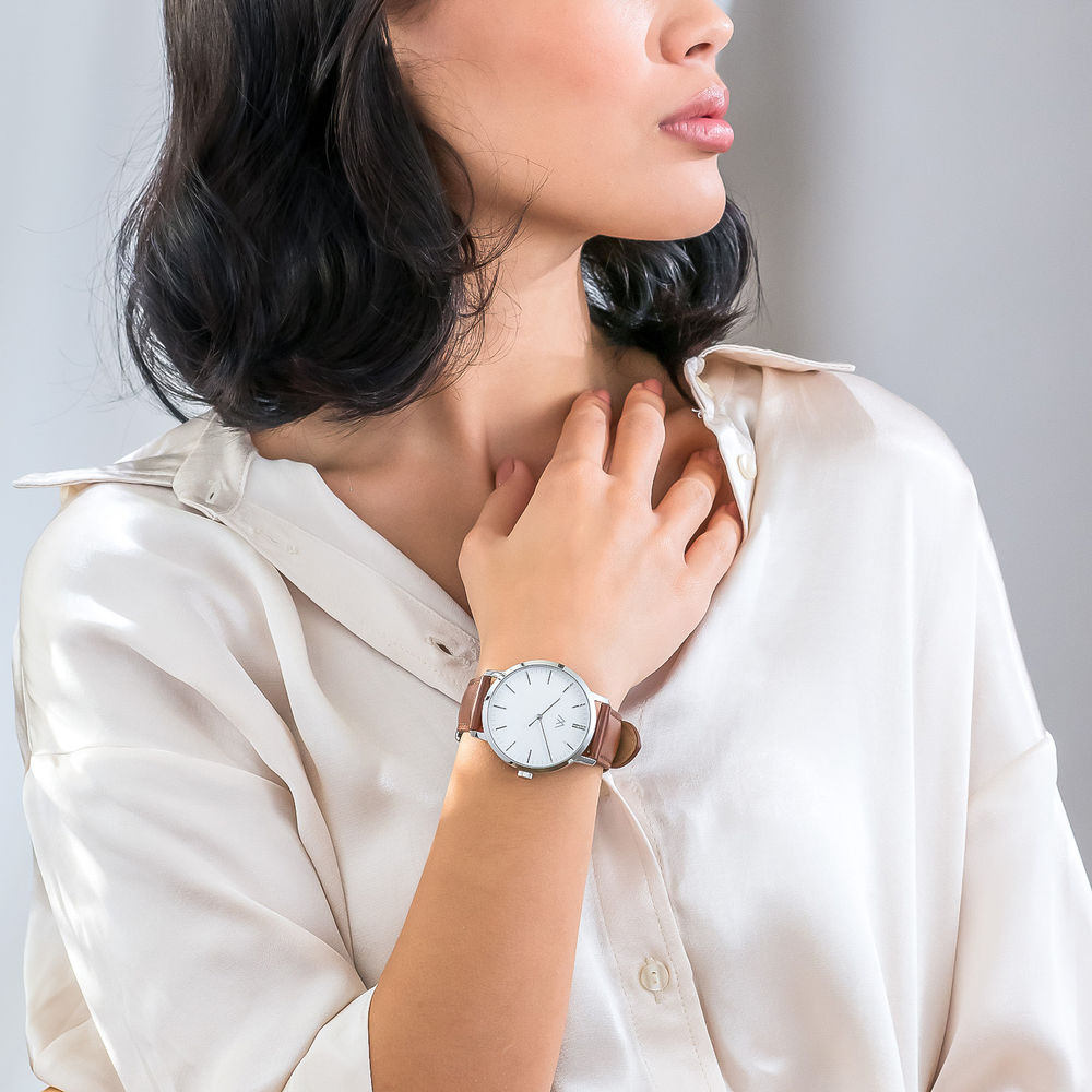 Montre Hampton minimaliste avec bracelet en cuir marron - Cadran Blanc - 4