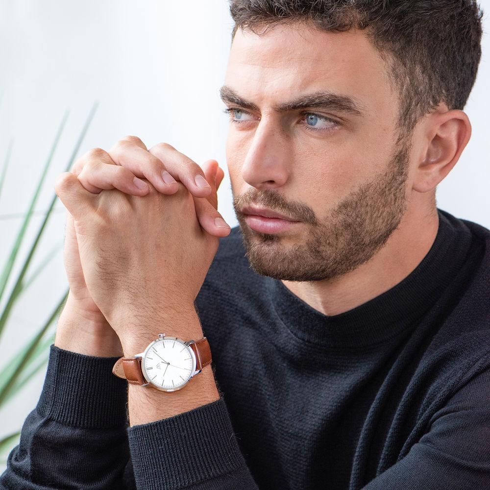 Montre Hampton minimaliste avec bracelet en cuir marron - Cadran Blanc - 5