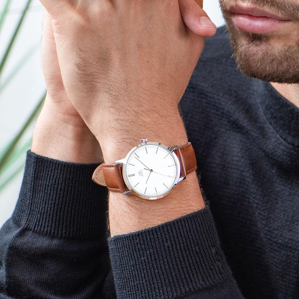 Montre Hampton minimaliste avec bracelet en cuir marron - Cadran Blanc - 6