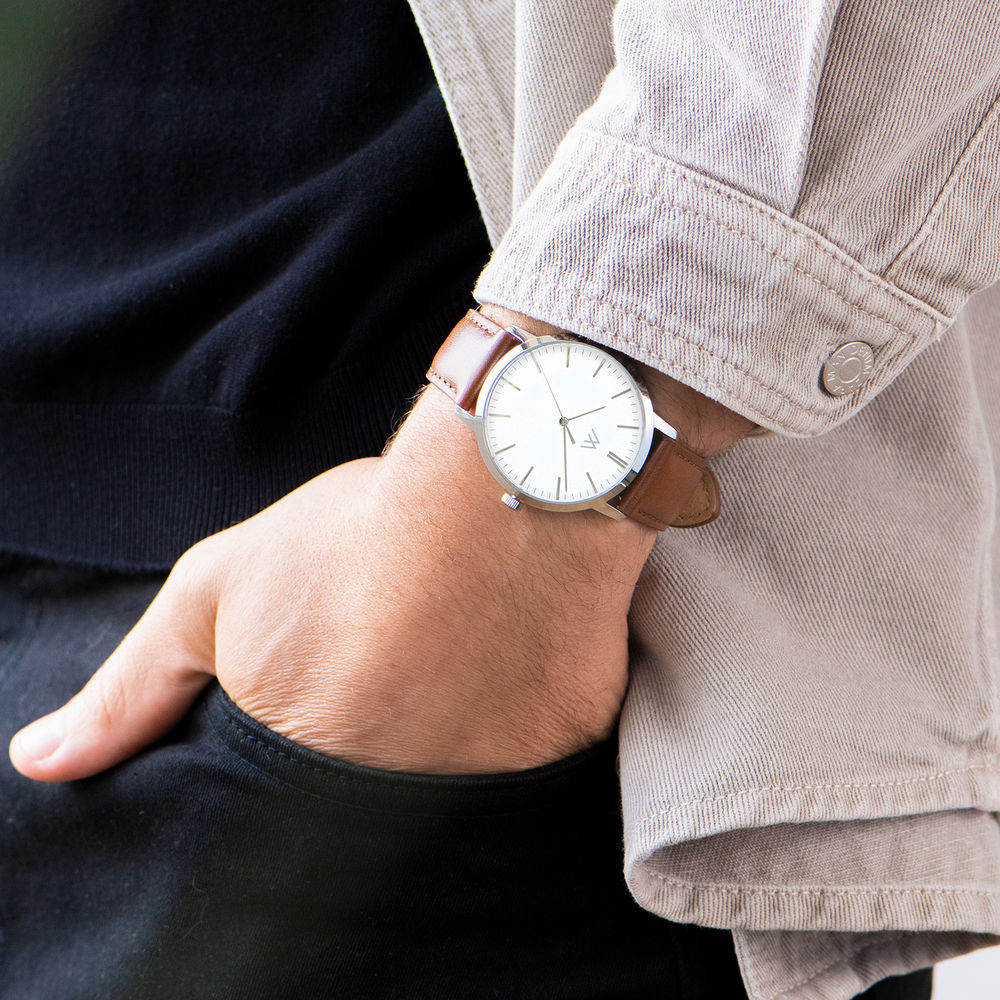 Montre Hampton minimaliste avec bracelet en cuir marron - Cadran Blanc - 7
