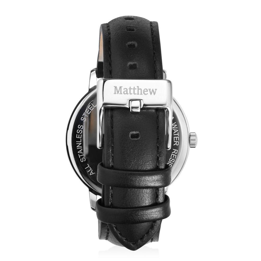 Montre Hampton minimaliste avec bracelet en cuir noir- Cadran Noir - 2