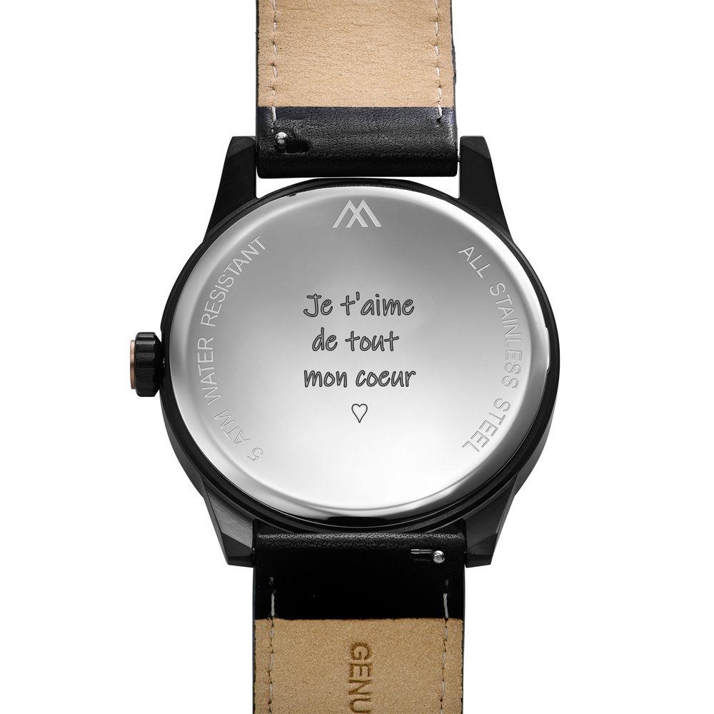 Montre Hampton minimaliste avec bracelet en cuir noir- Cadran Noir - 3