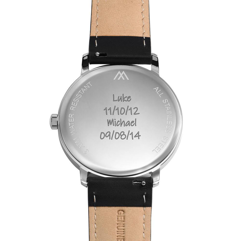 Montre Hampton minimaliste avec bracelet en cuir noir- Cadran Noir - 4