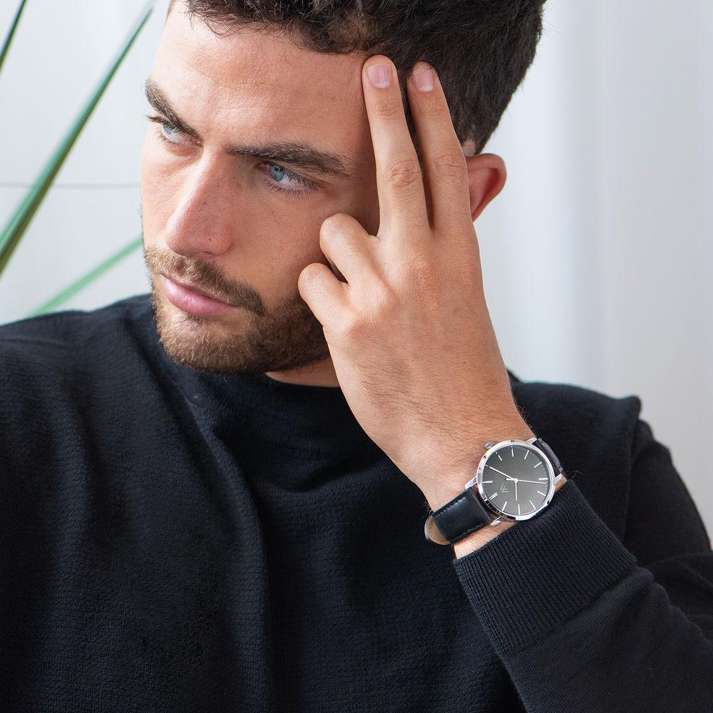 Montre Hampton minimaliste avec bracelet en cuir noir- Cadran Noir - 5