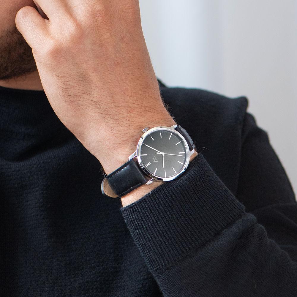 Montre Hampton minimaliste avec bracelet en cuir noir- Cadran Noir - 6