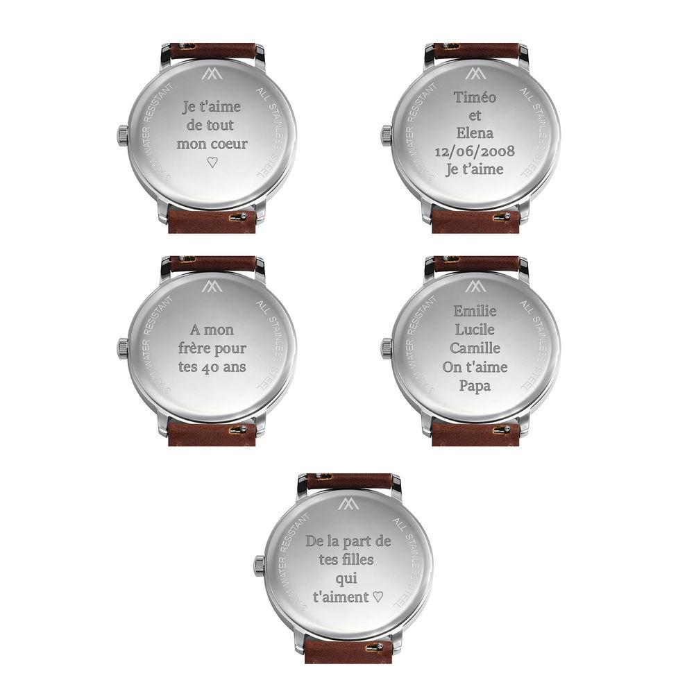 Montre Hampton minimaliste avec bracelet en cuir noir- Cadran Noir - 8