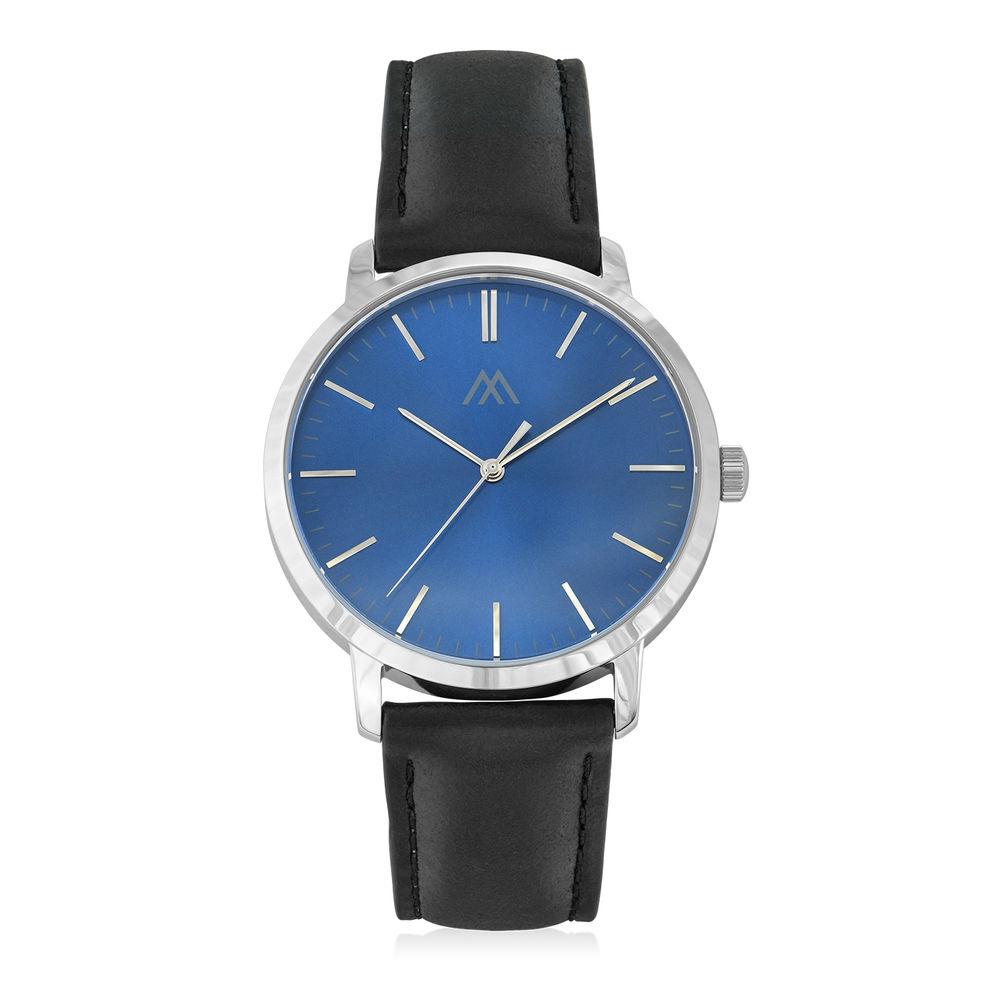 Montre Hampton minimaliste avec bracelet en cuir noir- Cadran Bleu