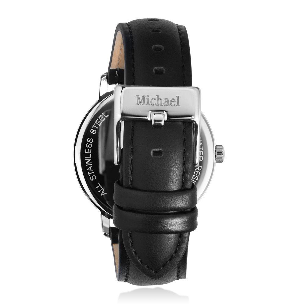 Montre Hampton minimaliste avec bracelet en cuir noir- Cadran Bleu - 2
