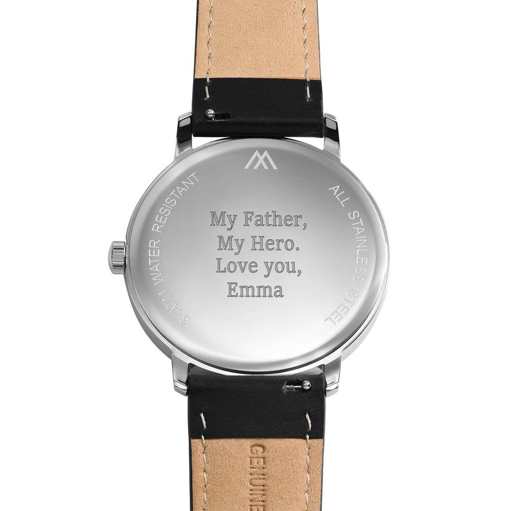 Montre Hampton minimaliste avec bracelet en cuir noir- Cadran Bleu - 3