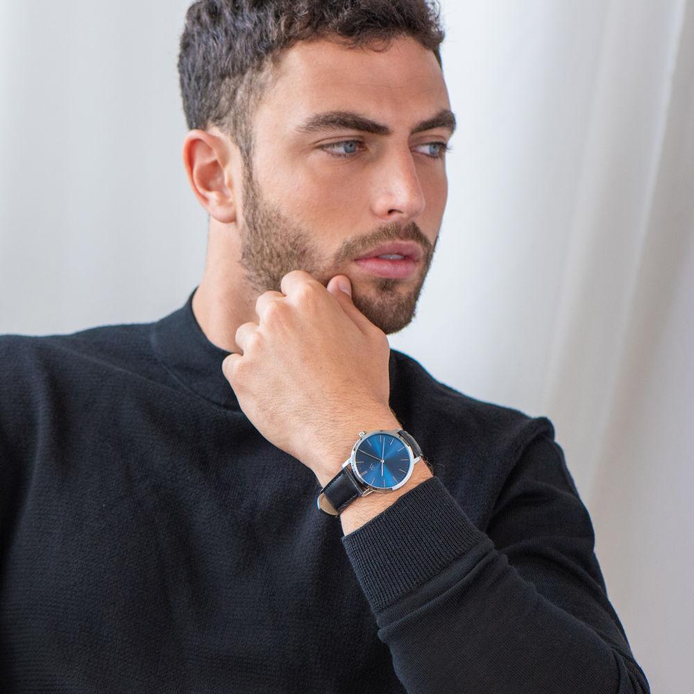 Montre Hampton minimaliste avec bracelet en cuir noir- Cadran Bleu - 5