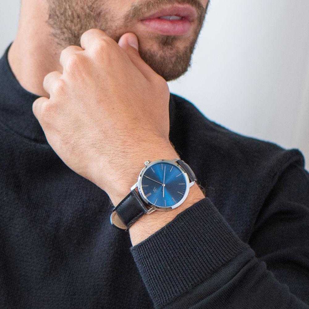 Montre Hampton minimaliste avec bracelet en cuir noir- Cadran Bleu - 6