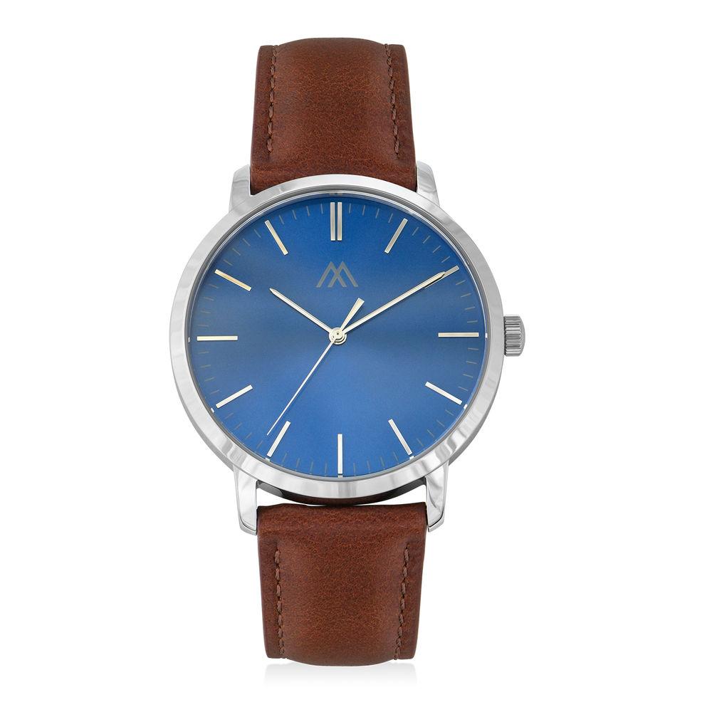 Montre Hampton minimaliste avec bracelet en cuir marron - Cadran Bleu