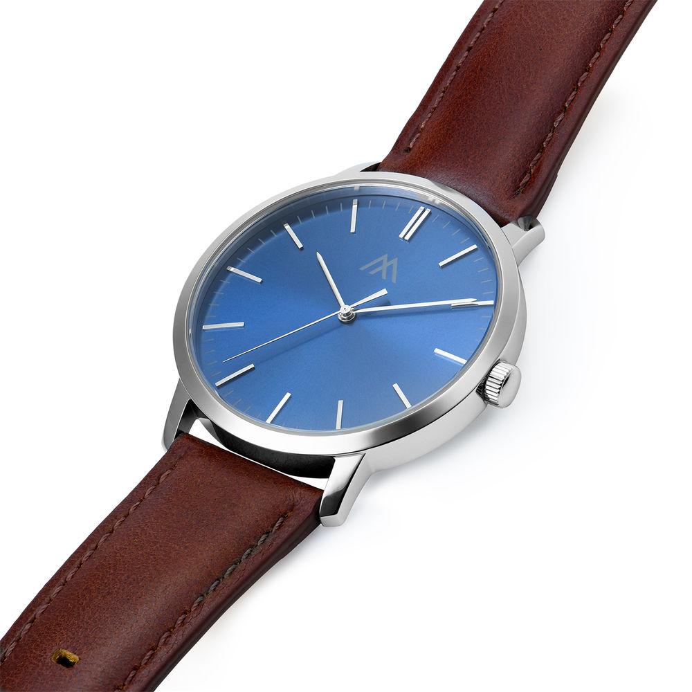 Montre Hampton minimaliste avec bracelet en cuir marron - Cadran Bleu - 1