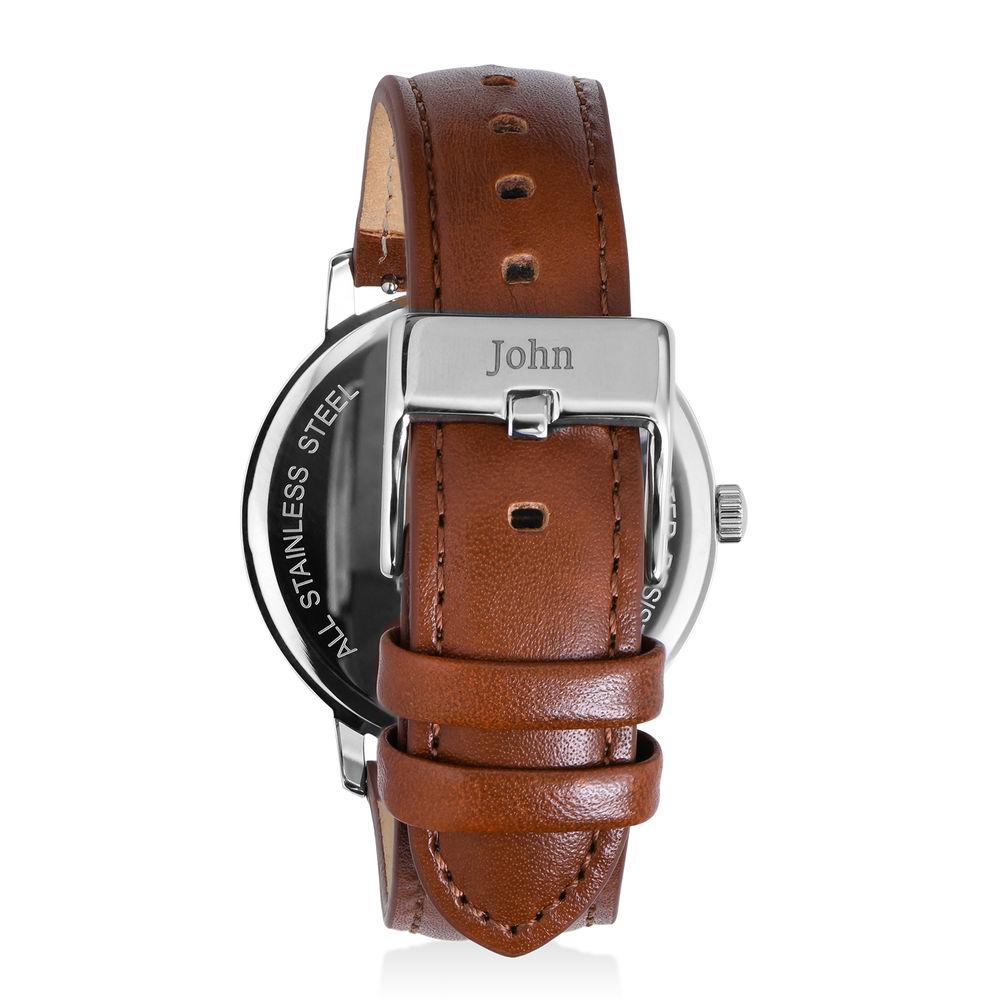 Montre Hampton minimaliste avec bracelet en cuir marron - Cadran Bleu - 2