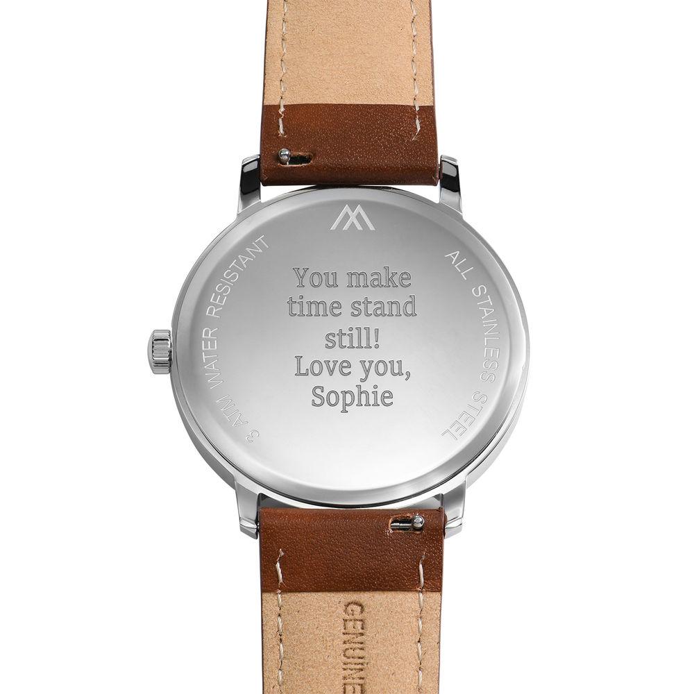 Montre Hampton minimaliste avec bracelet en cuir marron - Cadran Bleu - 3