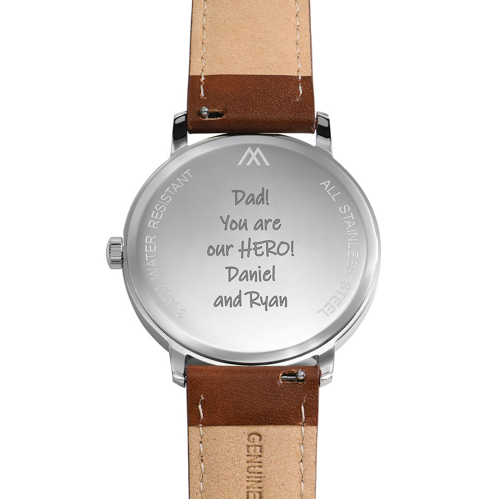 Montre Hampton minimaliste avec bracelet en cuir marron - Cadran Bleu - 4