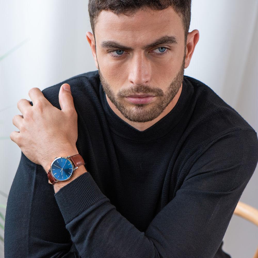 Montre Hampton minimaliste avec bracelet en cuir marron - Cadran Bleu - 5