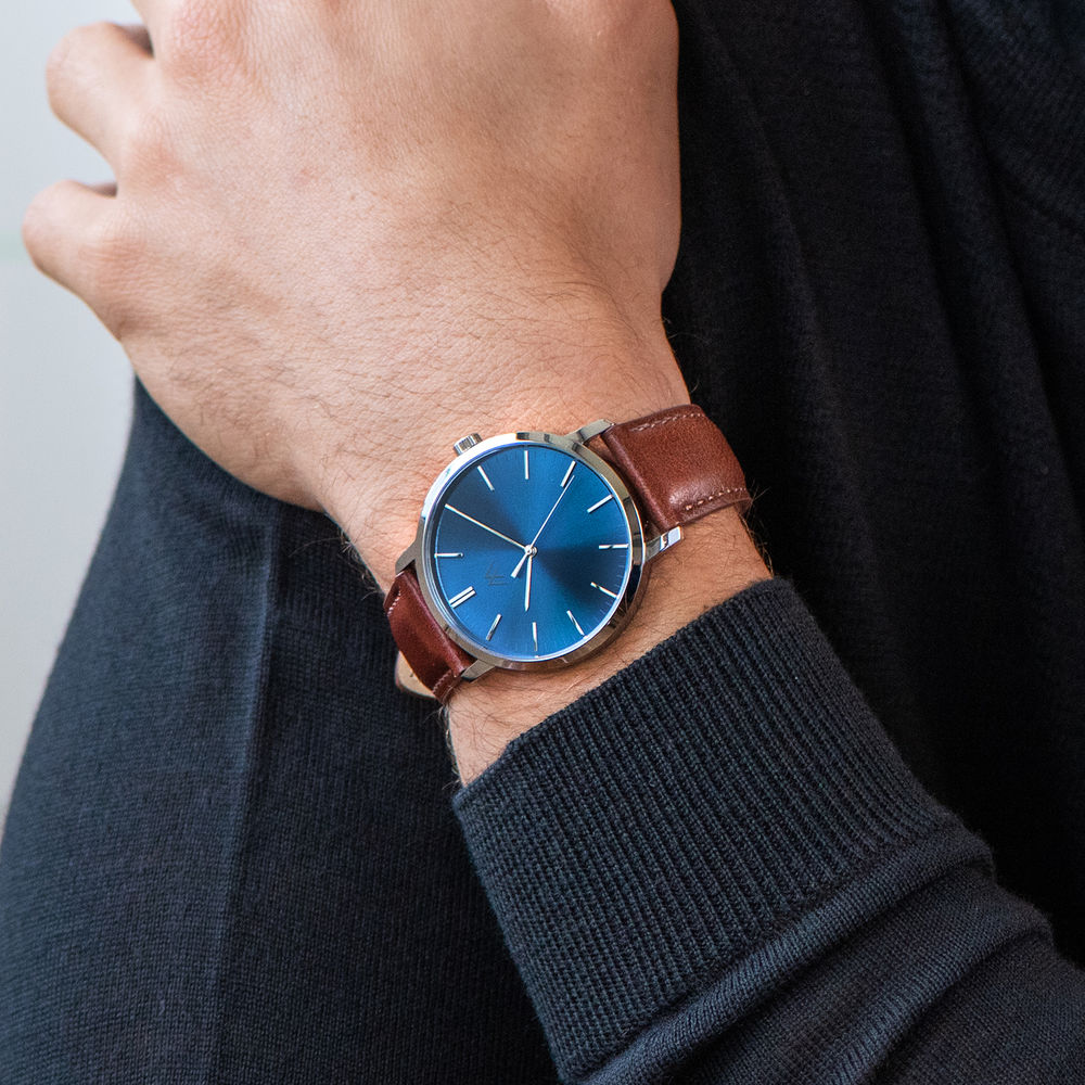 Montre Hampton minimaliste avec bracelet en cuir marron - Cadran Bleu - 6