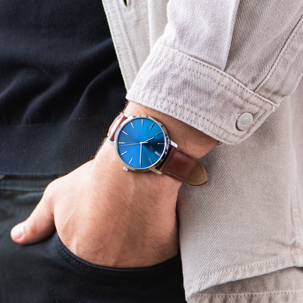 Montre Hampton minimaliste avec bracelet en cuir marron - Cadran Bleu - 7