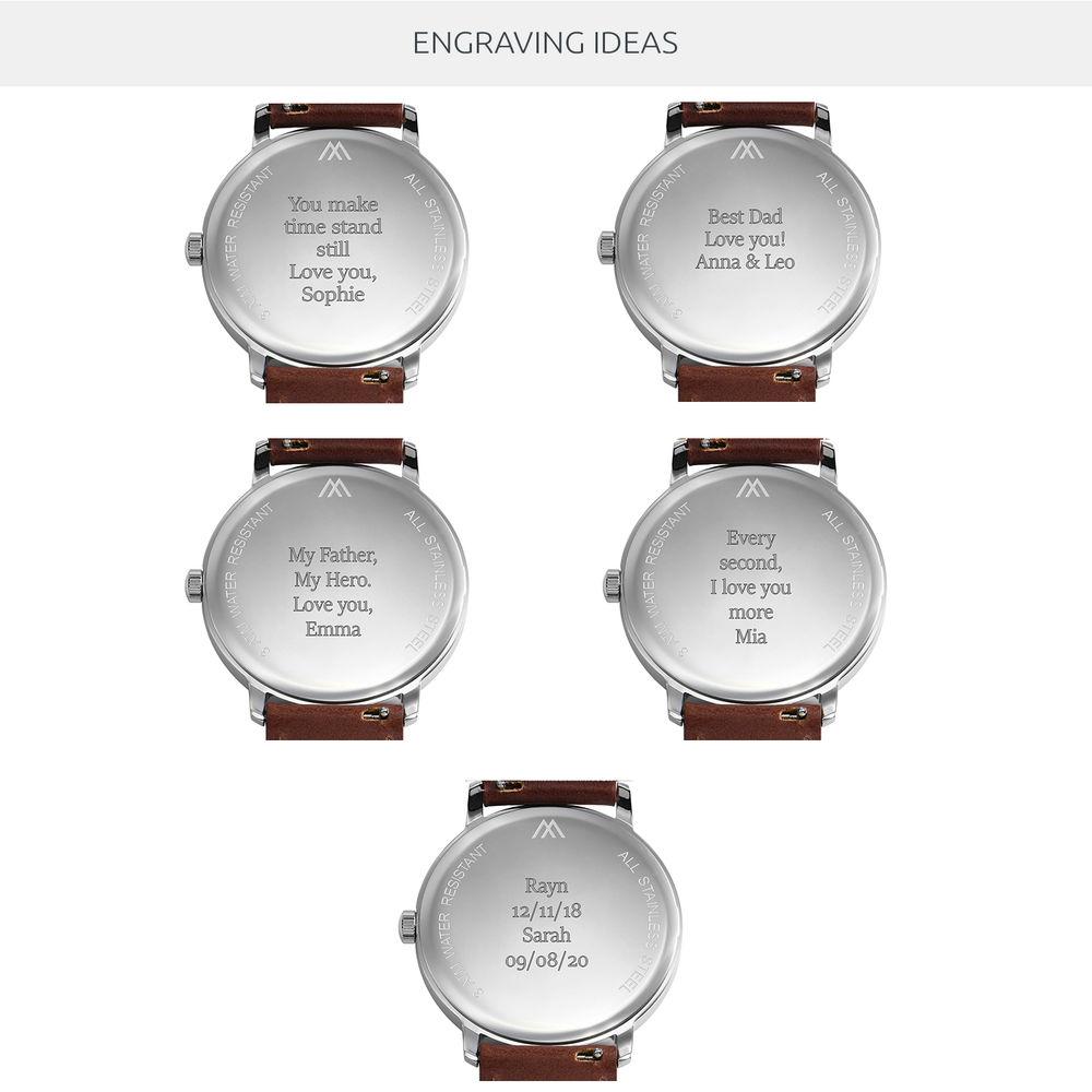 Montre Hampton minimaliste avec bracelet en cuir marron - Cadran Bleu - 9