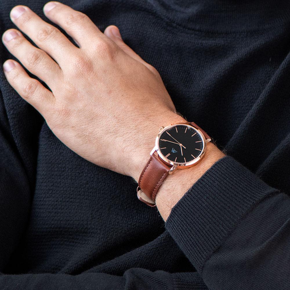 Montre Hampton Personnalisée Minimaliste en cuir marron - 6