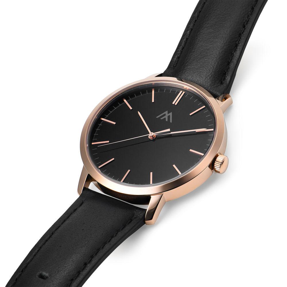 Montre Hampton  personnalisée minimaliste en cuir noir - 1