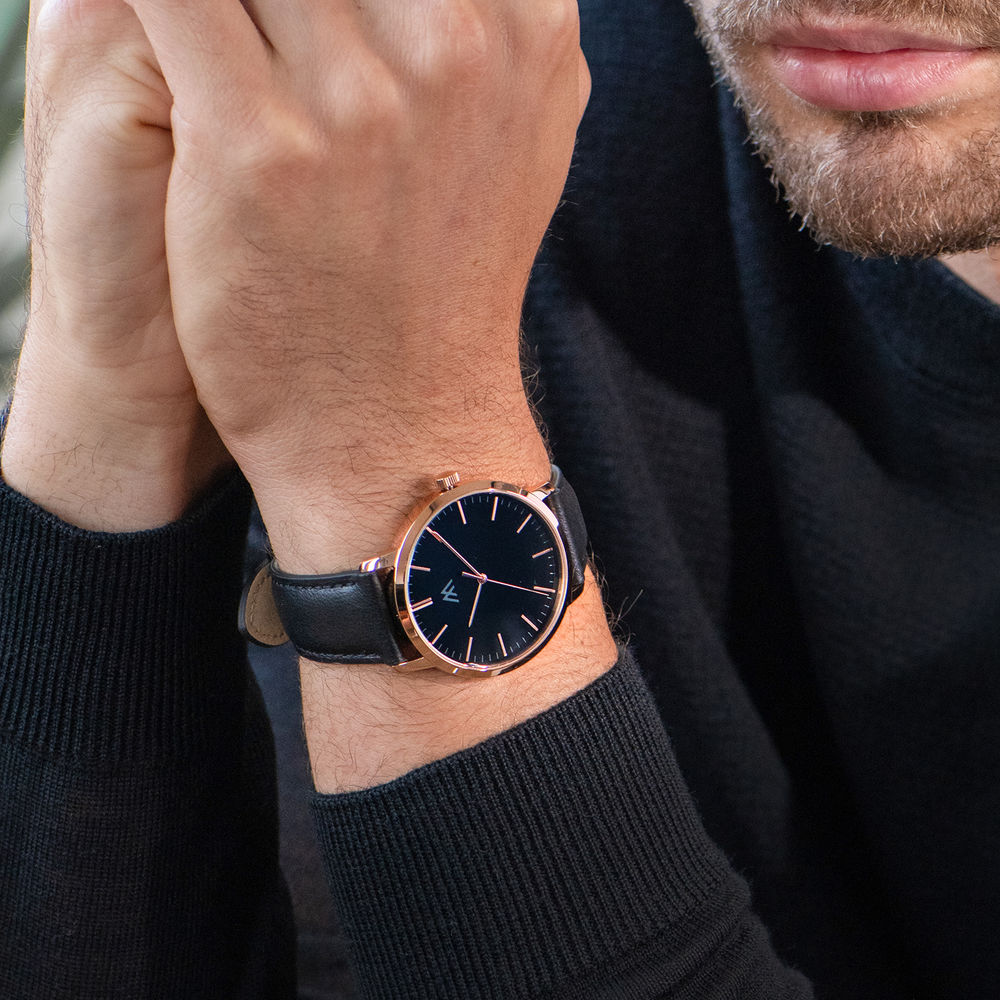Montre Hampton  personnalisée minimaliste en cuir noir - 6