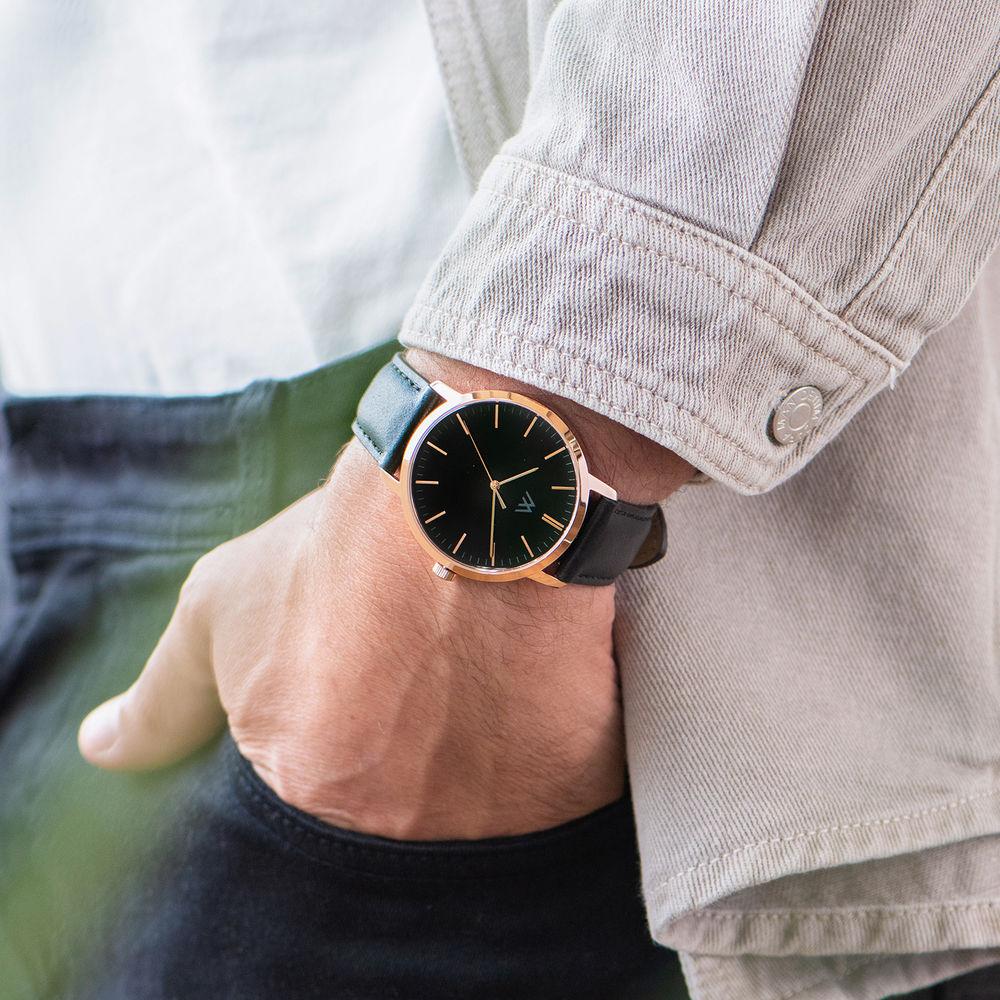 Montre Hampton  personnalisée minimaliste en cuir noir - 7