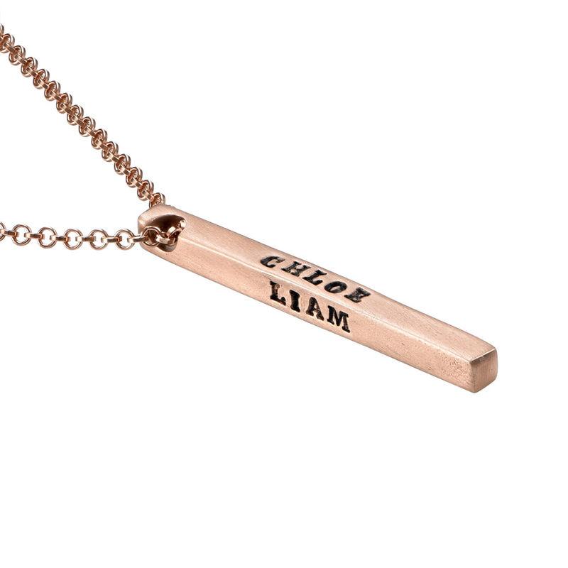 Collier avec barre gravée des 4 côtés en plaqué or rose - 1