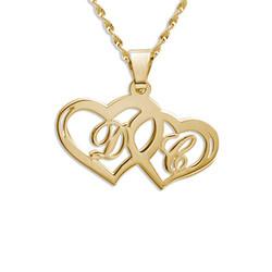 Collier Couple Initial personnalisé avec pendentif Coeur en Or 14Ct photo du produit