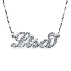 Collier Prénom en Argent Effet Diamant Carrie Bradshaw photo du produit