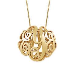 Collier monogramme en 3D en or jaune 14 carats photo du produit