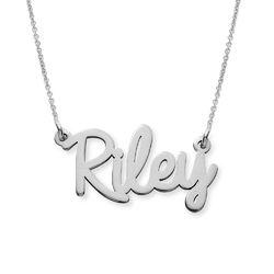 Collier prénom écriture personnalisée en or blanc 10 carats photo du produit