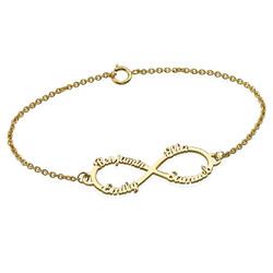 Bracelet Infini 4 prénoms en Or 14 cts photo du produit