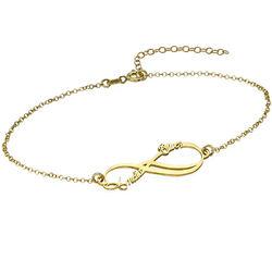 Bracelet Infini avec 2 prénoms en plaqué or photo du produit