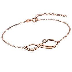 Bracelet Infini 2 prénoms en Plaqué Or Rose photo du produit
