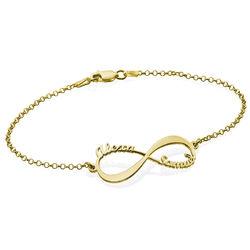 Bracelet infini avec prénoms en or 14 carats photo du produit