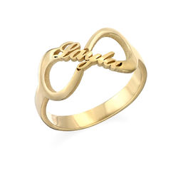 Bague Infini plaquée or avec prénoms photo du produit