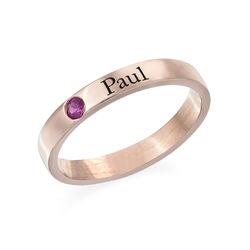 Anneau prénom empilable pierre de naissance - plaqué or rose 18K photo du produit