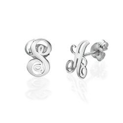 Boucles d'oreilles Initiale en argent photo du produit