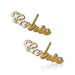 Boucles d'oreille personnalisés avec son nom en Or 14Ct photo du produit