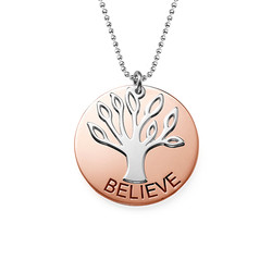 Collection Yoga - Collier Arbre de famille Plaqué Or Rose photo du produit