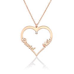 Collier Coeur avec Prenom en Plaqué Or Rose avec Diamants photo du produit