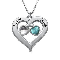 Collier Cœur Personnalisé avec pierres de naissance en coeur product photo