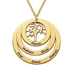 Collier cercles avec arbre de vie en plaqué or pour Mamie photo du produit