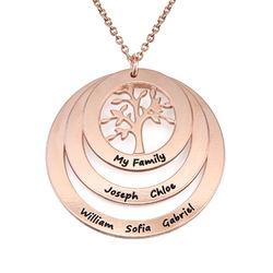 Collier famille avec arbre de vie suspendu en Plaqué Or Rose photo du produit