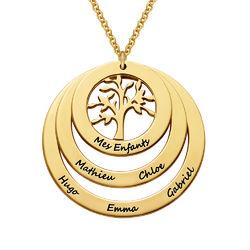 Collier famille avec arbre de vie suspendu en Plaqué Or Vermeil product photo