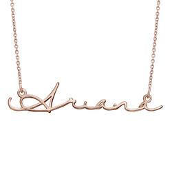 Collier prénom style signature - plaqué or rose photo du produit